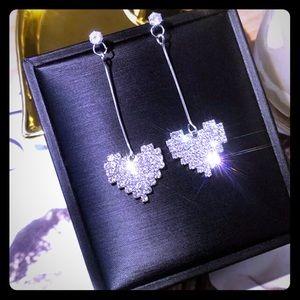 Rhinestone Love Heart Drop Earrings